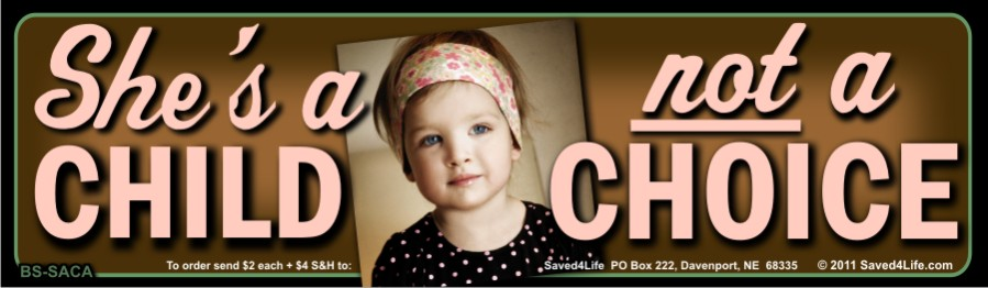 She's a Child Not a Choice 3.5x12 Bumper Sticker