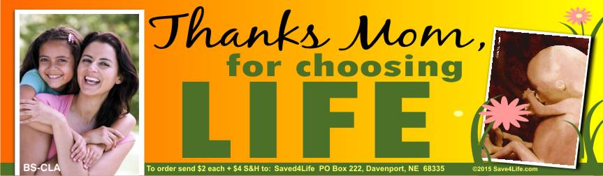 Thanks Mom for Choosing Life (Fetus) 3.5x12 Bumper Sticker