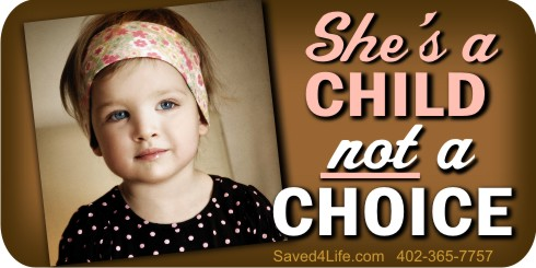 "She's a Child Not a Choice 1"" x 2"" Envelope Sticker"
