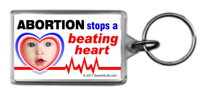 Abortion Stops a Beating Heart 1.25 x 2 Keychain