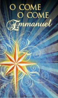 O Come Emmanuel Christmas Banner BLUE on CANVAS