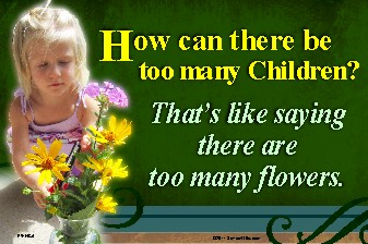 How Can There Be Too Many Children? 36x54 Vinyl Poster