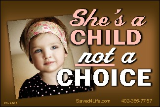 She's A Child Not a Choice! 36x54 Vinyl Poster