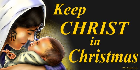 Keep Christ In Christmas (Mary) 4 x 8 Vinyl Banner