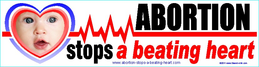 Abortion Stops a Beating Heart 3.5x12 Bumper Sticker