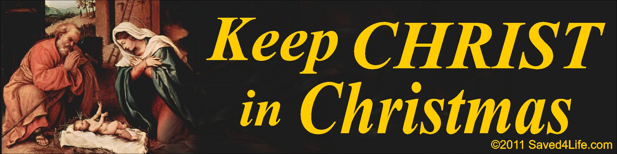 Keep Christ In Christmas (Nativity) 3.5x12 Bumper Stickers