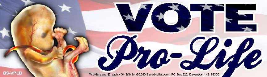 Vote Pro-Life (Fetus) 3.5x12 Bumper Sticker