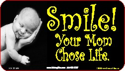 Smile! Your Mom Chose Life! (Hand) 1x2 Envelope Sticker