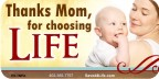 Thanks Mom for Choosing Life (Mom&Babe) 1x2 Envelope Sticker