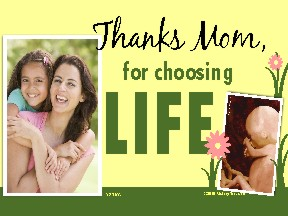 Thanks Mom for Choosing Life (Fetus) Yard Sign 18x24