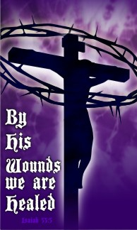 "By His Wounds Purple Banner 36""x60"""