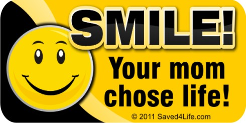 Smile! Your Mom Chose Life! (Smiley) 1x2 Envelope Stickers